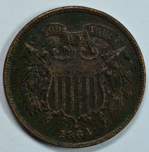 1864 Shield 2 cent circulated coin XF details See item description - $60.00