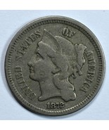 1872 3 cent circulated copper nickel F/VF details - $25.00