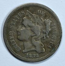 1875 3 cent circulated copper nickel F details - $30.00