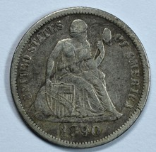 1890 Seated Liberty circulated silver dime VF details - $20.00
