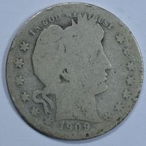 1909 S Barber circulated silver quarter - $10.00