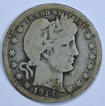 1914 P Barber circulated silver quarter - $11.00