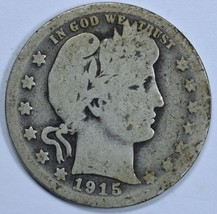 1915 D Barber circulated silver quarter - $10.00