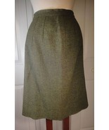 Vintage Tweed Wool Wiggle Skirt Olive Green 1950s M - $8.00