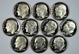 1980 - 1989 S Roosevelt proof dime set - $12.00