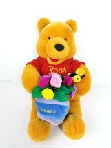 Disney Store Winnie The Pooh Bear Plush Toy Holding Flowers And Bee Soft - $18.51