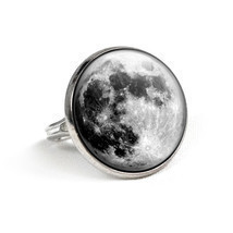 Full Moon Ring Galaxy Ring Glass Ring Moon Jewelry Adjustable Ring Handm... - $11.20