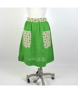 """Vintage Green Apron Skirt Floral Lace Trim Pockets Knee Length Small 28""""... - $27.72"""
