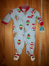 Carter Baby Clothes Santa Newborn Playsuit Blue First Christmas Holiday Sleeper - $12.34