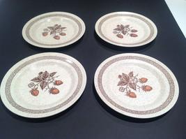 Vtg Set 4 Homer Laughlin Brown Wild Strawberry Dinner Plates Stoneware Speckle - $29.21