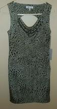 Jennifer Lopez Black Grey Cheetah Print Dress Womens XS Sleeveless New - $26.72