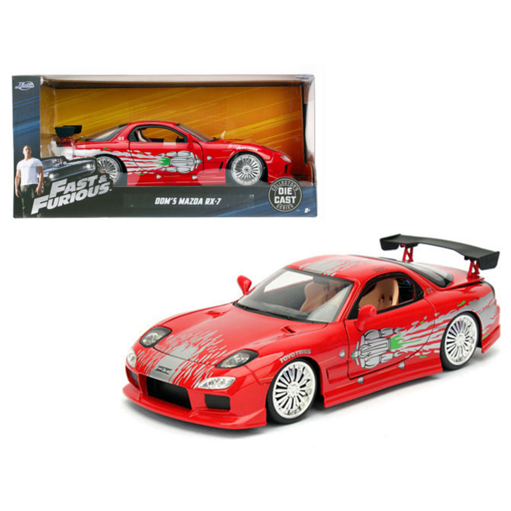 Doms Mazda RX-7 Red Fast and Furious Movie 1/24 Diecast Model Car by Jada 98338