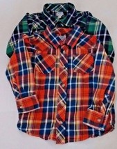 Old Navy Plaid Long Sleeves Lot 2 Shirts Size 5T Orange Green Button Down  - $14.99