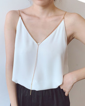 Women's Sleeveless Chiffon Tops White Black V neck Chiffon Top Party Tops Chain image 1
