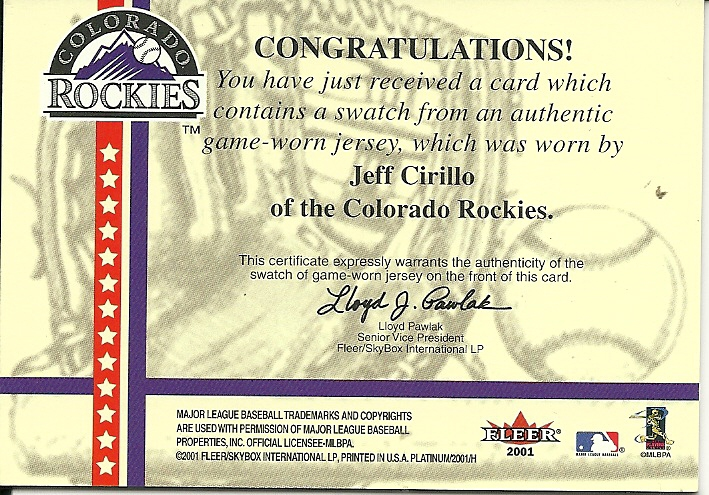 2001 Fleer Platinum National Patch Time Jeff Cirillo Rockies
