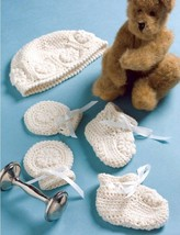 W618 Crochet PATTERN ONLY Newborn Baby Gift Set Booties Mitts Hat Patterns - $7.50