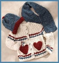 W627 Crochet PATTERN ONLY Snow Girl Sweater Hat Scarf w/ Heart Pockets P... - $9.50