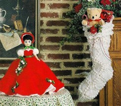 W594 Crochet PATTERN ONLY Holly Belle Doll and Victorian Bobble Stocking Pattern - $8.50