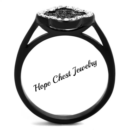 WOMEN'S BLACK STAINLESS STEEL BLACK AND CLEAR CRYSTAL FASHION RING SIZE 5 -10