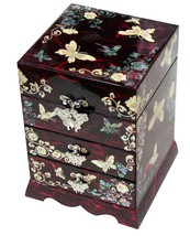 Red jewelry box jewel organizer 3 drawers with mirror butterfly designs ... - €92,60 EUR