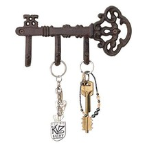 Decorative Wall Mounted Skeleton Key Holder | Vintage Key With 3 Hooks |... - $16.26