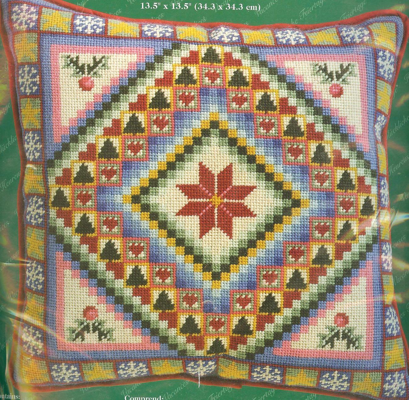 RARE~Janlynn~Christmas Patchwork Needlepoint Kit~NIP~Dated 2001 - $14.39