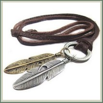 "Bohemian Unisex  Antique Feather Pendant on 35"" Adjustable Leather Necklace"