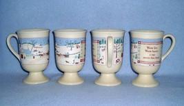 Hallmark Set of 4 Warm Fire Warm Hearts Footed Irish Coffee Mugs Cups - $17.99