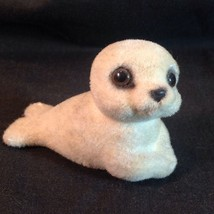 Vtg Josef Orig White Baby Seal Fuzzy Flocked Big Eyes Cute Adorable Japan - $29.21