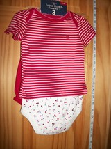 Faded Glory Baby Clothes 0M-3M Newborn Short Outfit Shirt Cherry Bodysui... - $14.24