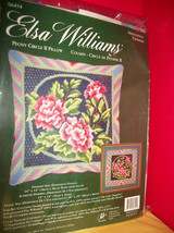 Craft Gift Elsa Williams Kit Needlepoint Peony Circle II Pillow Set Needle Point - $47.49