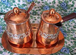 Home Treasure Coffee Set Tea Taxco Mexico Victoria Copper Spoon Silver Overlay - $1,329.99