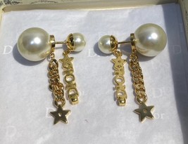 AUTH CHRISTIAN DIOR 2020 J'ADIOR DOUBLE PEARL GOLD STAR DANGLE FINISH EARRINGS image 12