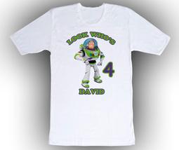 Toy Story Buzz Lightyear Personalized White Birthday Shirt - $14.99+