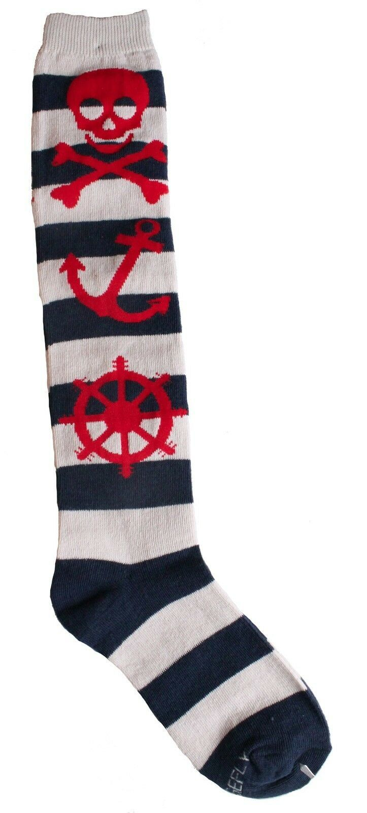 Loungefly Nautical Skull Navy Grey Red Striped Knee High Socks LFSK557 NWT