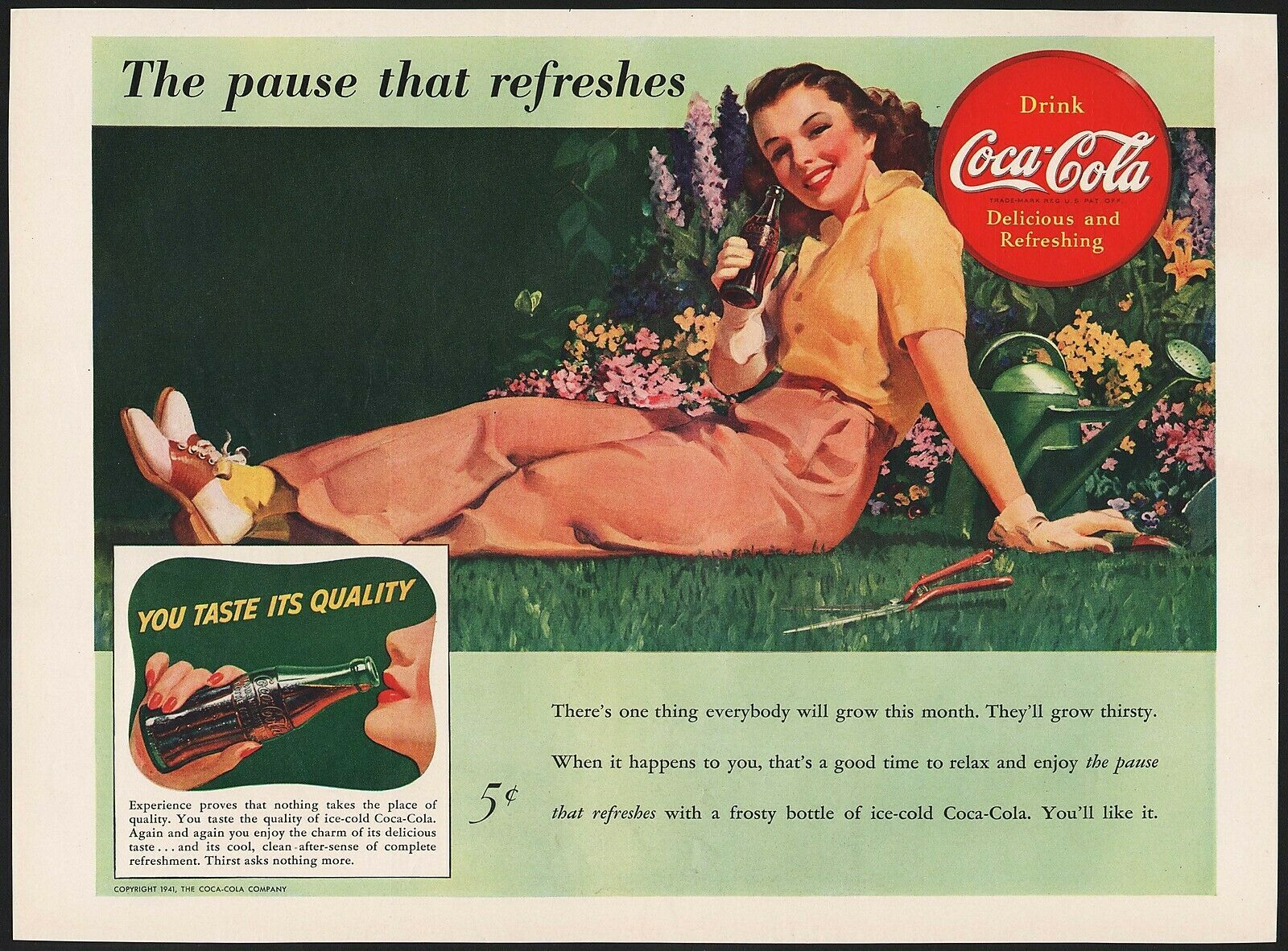 Vintage magazine ad COCA COLA from 1941 picturing a woman lying by a flower bed - $12.99