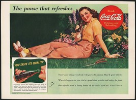 Vintage magazine ad COCA COLA from 1941 picturing a woman lying by a flo... - $11.69