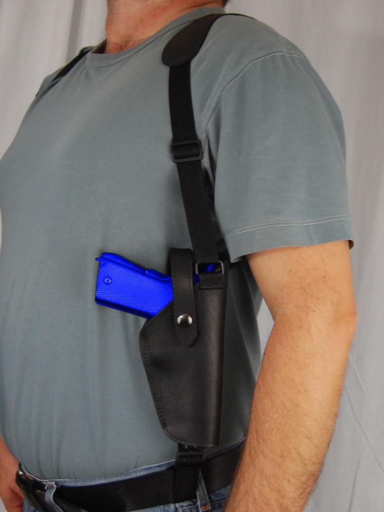 Barsony Black Leather Vertical Concealment Shoulder Holster BROWNING HIGH-POWER