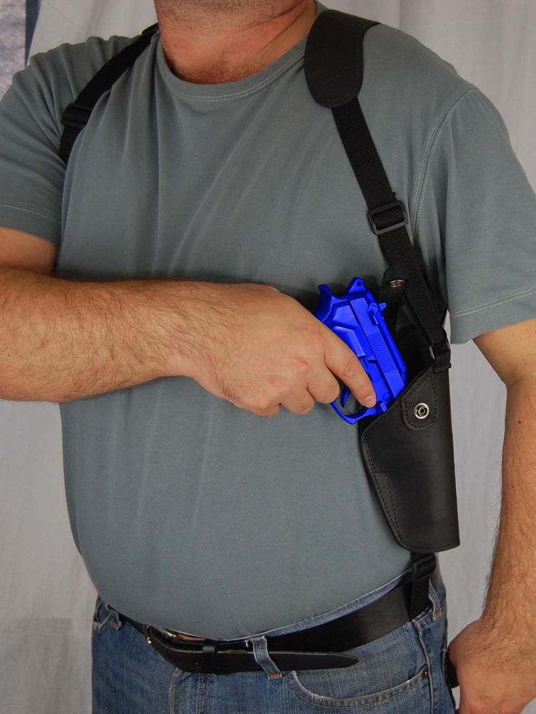 Barsony Black Leather Vertical Concealment Shoulder Holster TAURUS 24/7 9 40 45