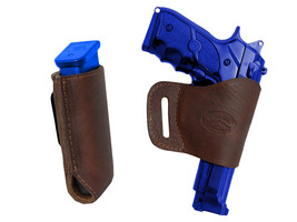 Barsony Brown Leather Yaqui Gun Holster w/Mag Pouch for Kimber, Llama Full Size - $44.99