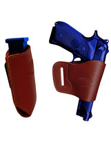 Barsony Burgundy Leather Yaqui Gun Holster w/Mag Pouch for Springfield Full Size - $44.99