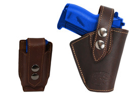 Barsony Gun OWB Brown Leather Belt Holster w/Mag Pouch Walther Sig Mini 22 25 - $59.99