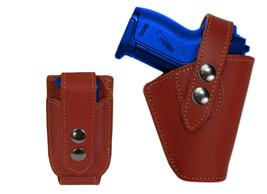 Barsony Gun OWB Burgundy Leather Belt Holster w/Mag Pouch Bersa Colt Mini 22 25 - $59.99