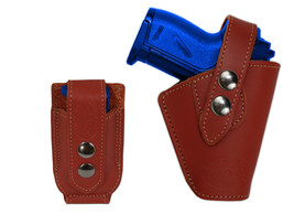 Barsony Gun OWB Burgundy Leather Belt Holster w/Mag Pouch Walther Sig Mini 22 25 - $59.99