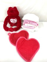 Hot Stuff Stuffed Plush Frog Two Hot Pads 5 Kitchen Towels Valentine's Day - $16.00