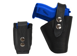 Barsony OWB Black Leather Belt Holster w/Mag Pouch Jennings Raven Mini 22 25 380 - $59.99