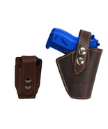Barsony OWB Brown Leather Belt Holster w/Mag Pouch Beretta Taurus Mini 2... - $59.99