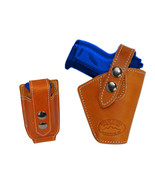 Barsony OWB Tan Leather Belt Holster w/Mag Pouch Llama NA Arms Mini 22 2... - $44.99