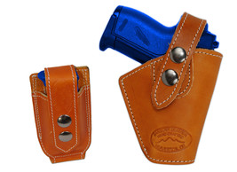 Barsony OWB Tan Leather Belt Holster w/Mag Pouch Jennings Raven Mini 22 25 380 - $44.99
