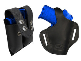 NEW Barsony Black Leather Pancake Holster+Dbl Mag Pouch Beretta Kahr Comp 9mm 40 - $74.99